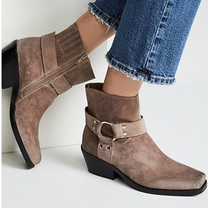 Jeffrey Campbell taupe farrier booties